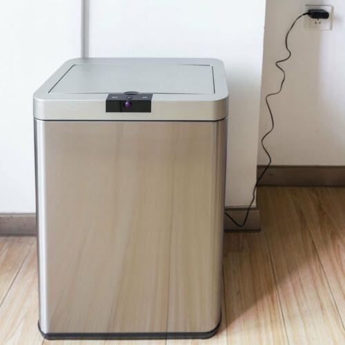 13 Gallon Automatic Sensor Touchless Garbage Trash Can Stain