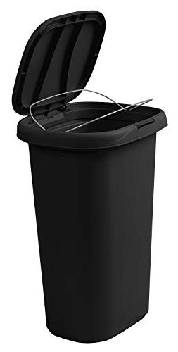 Rubbermaid Spring-Top Lid Trash Can and Gallon, Black