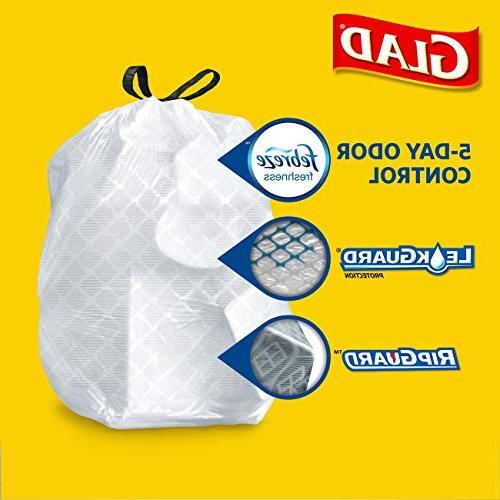 Glad ForceFlex OdorShield Kitchen Drawstring Trash - Febreze - Gallon - 34 Pack
