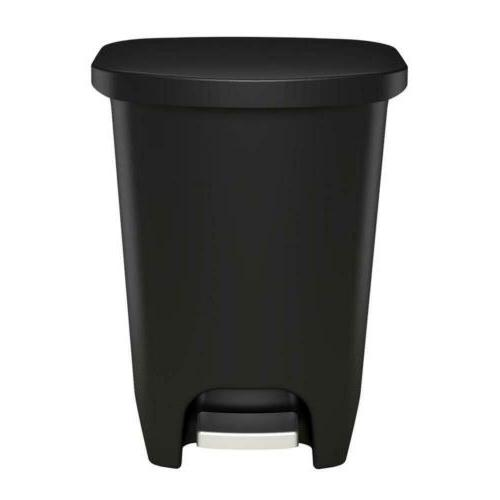 GLAD Plastic Step Trash Can with 13 Liter, Black