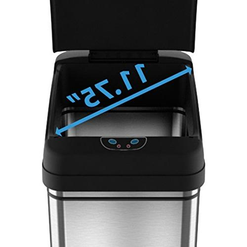 iTouchless 13 Touchless Sensor Kitchen Can with Odor Filter Deodorizer, Platinum Limited Edition