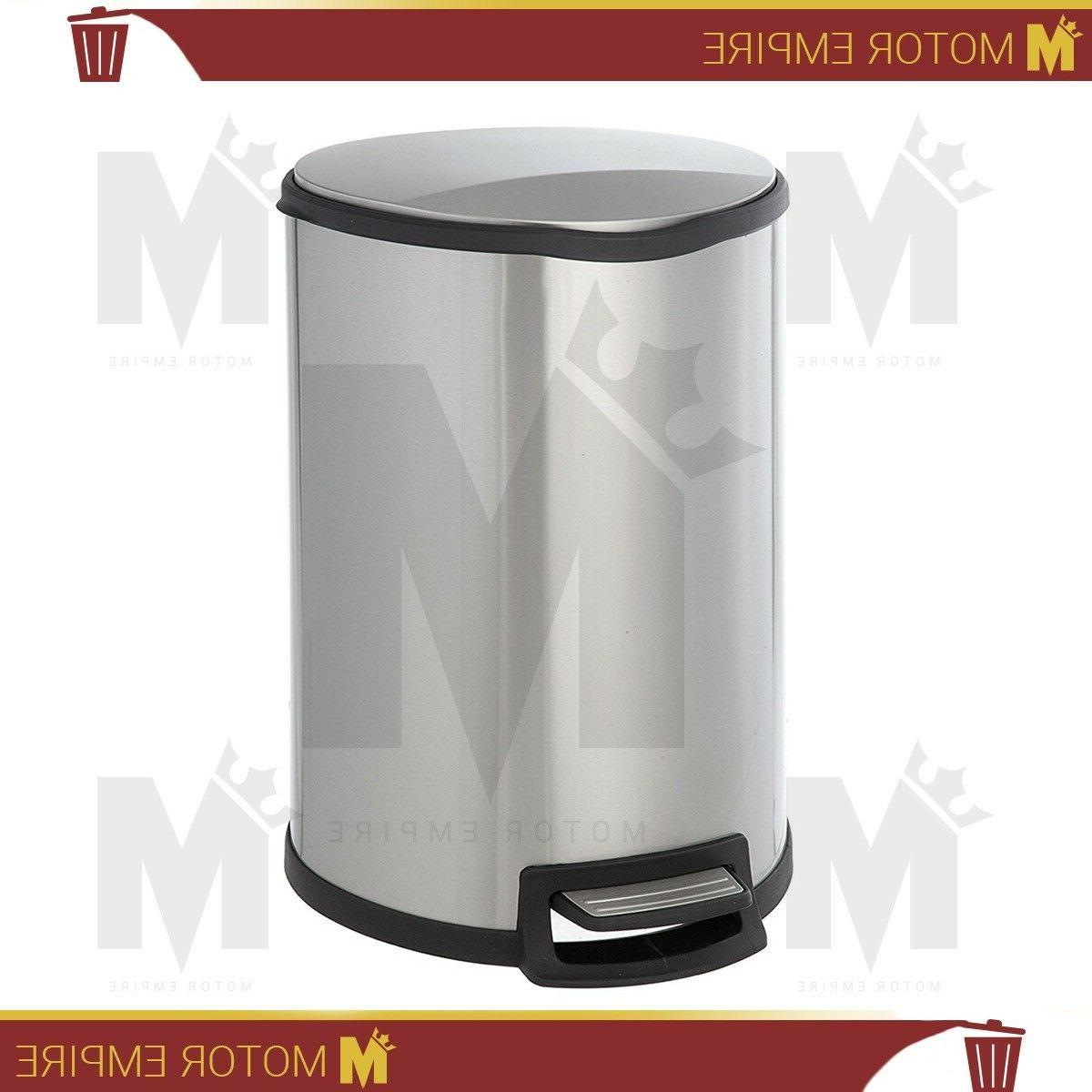 Home Zone Stainless Steel Kitchen Trash Can with Semi-Round Design and Step  Pedal | 45 Liter / 12 Gallon Storage with Removable Plastic Trash Bin ...