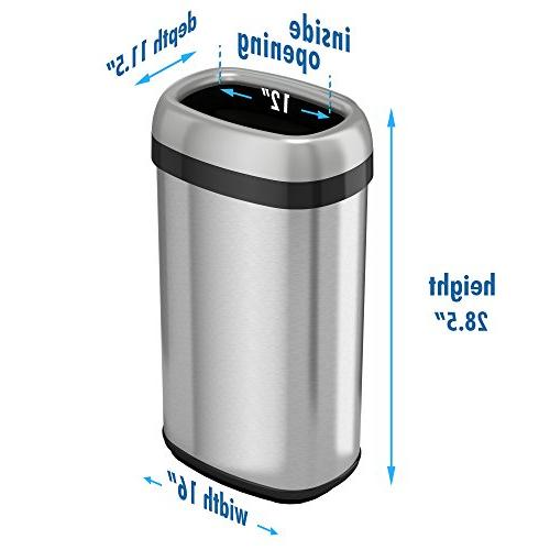 iTouchless Dual-Deodorizer Top Recycle Stainless Home, 61 Liter