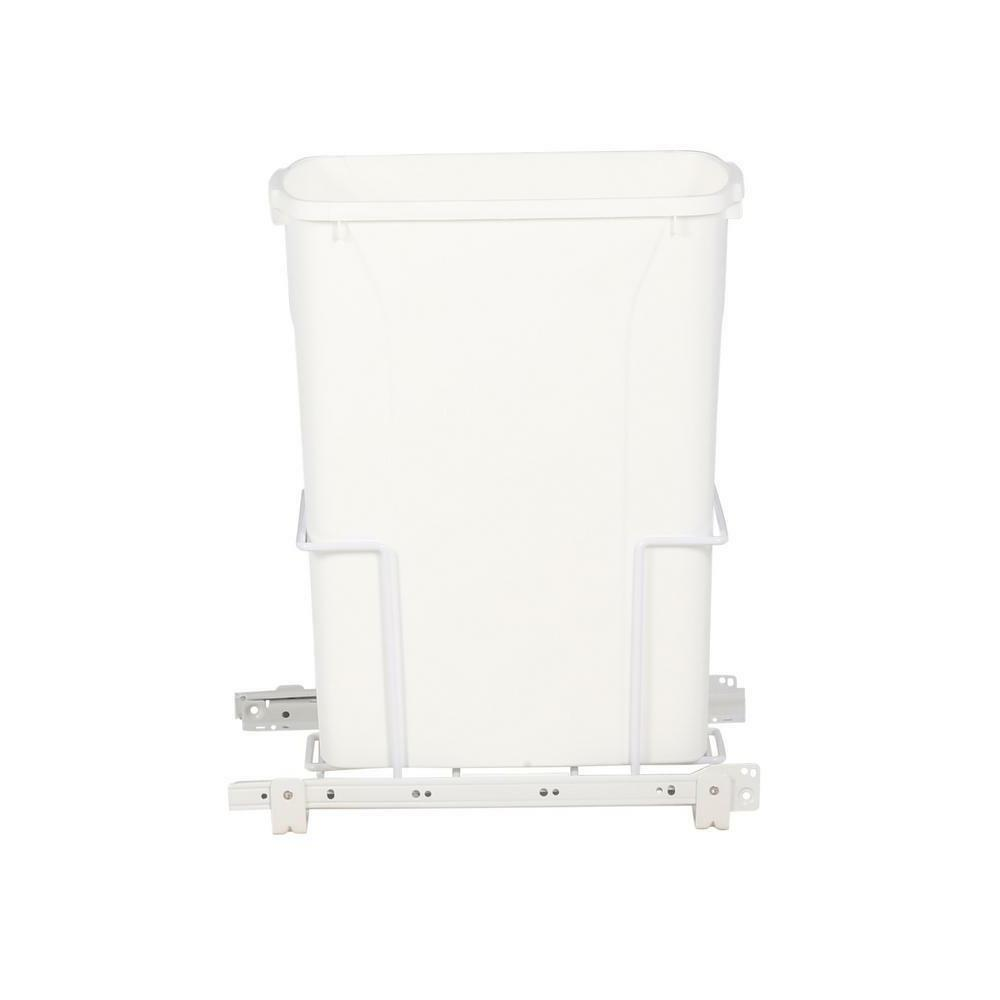 Kitchen 35 Qt. In Cabinet Single Pull Out Trash Can White Sl