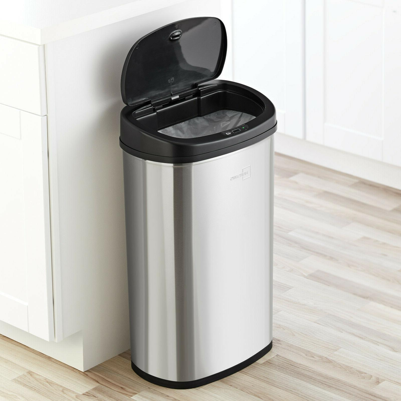 Kitchen Trash Can Gallon Stainless Steel Motion Hands Open