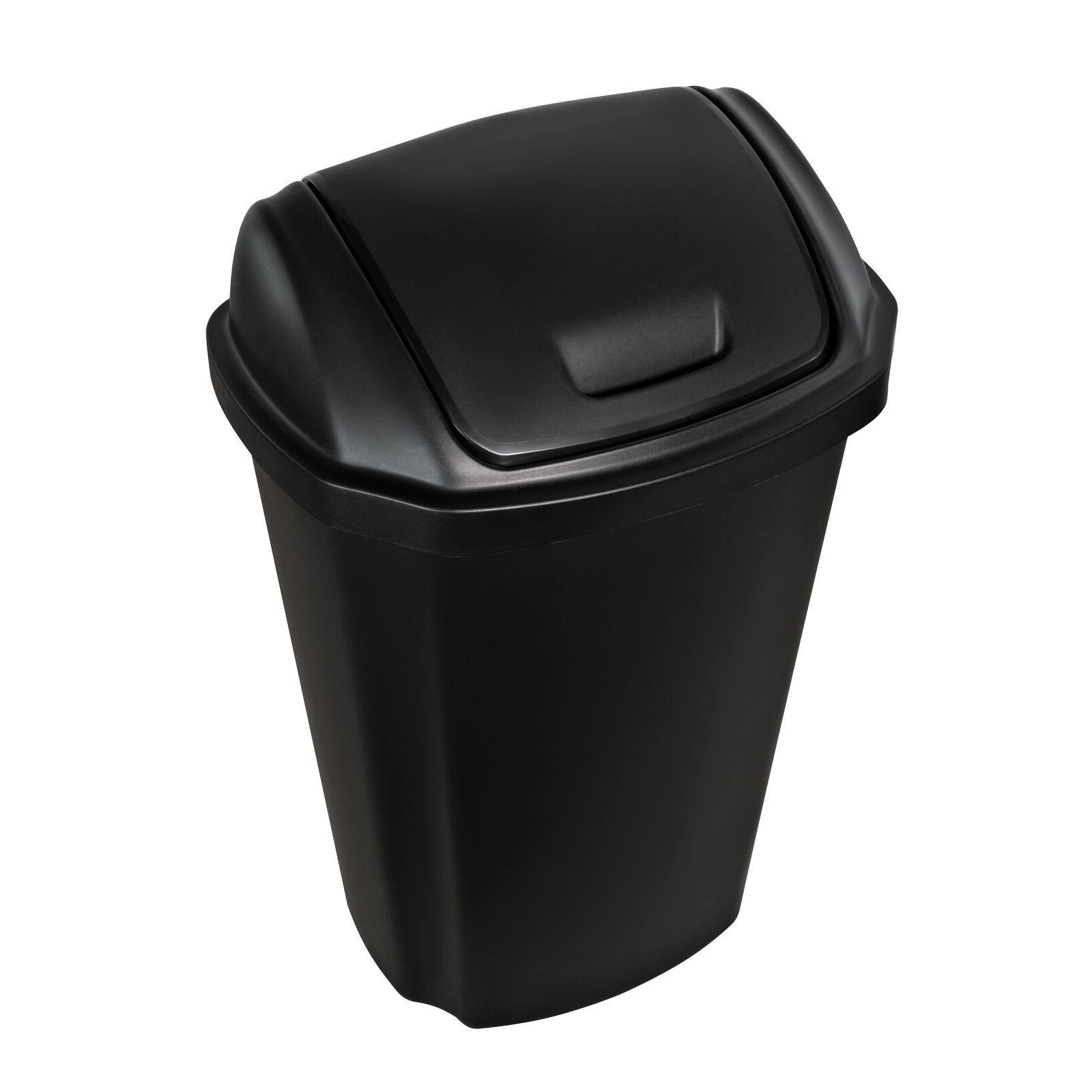 Kitchen Can 13.5 Gal Hefty Swing Lid Black Waste Basket Bin
