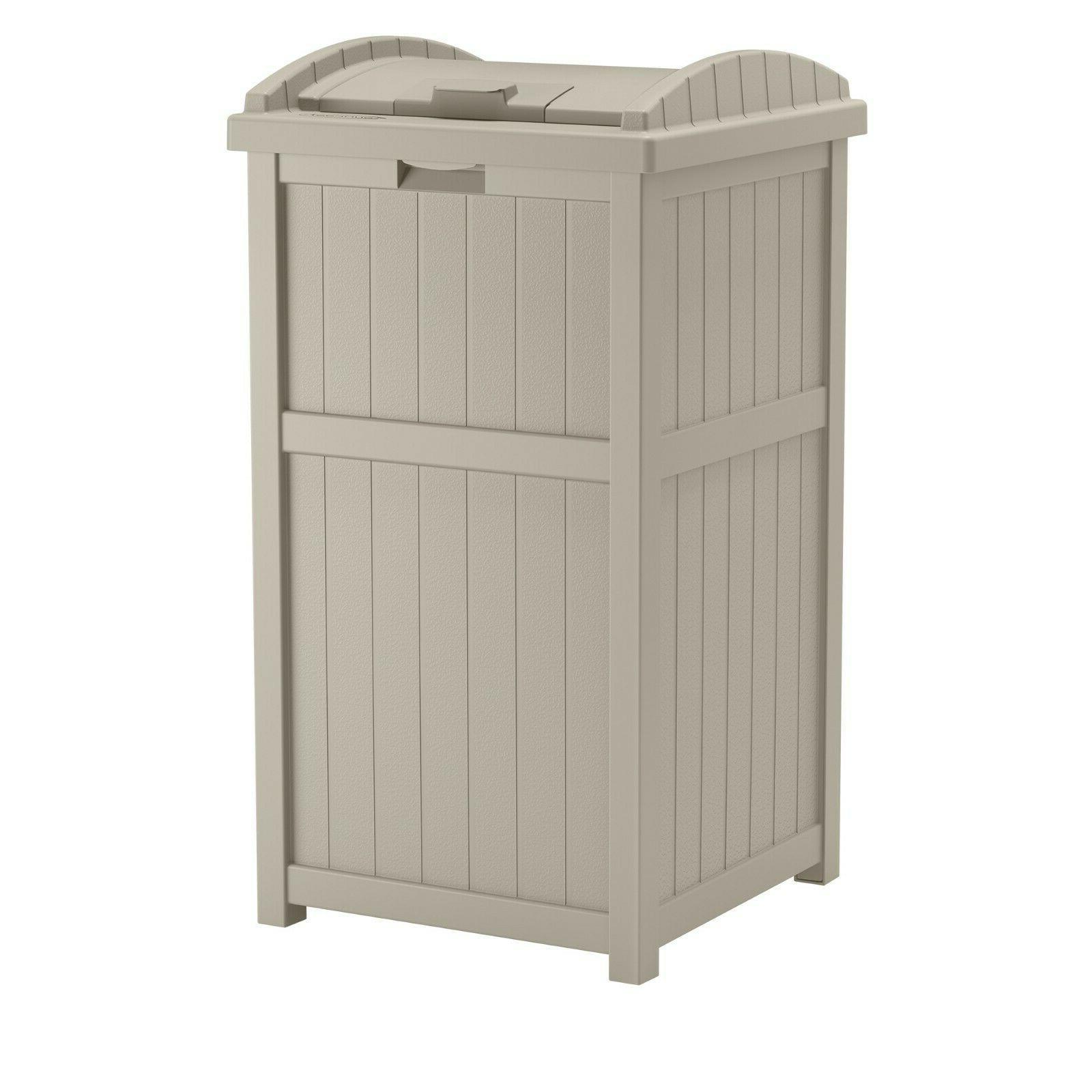 Light 33 Gallon Trash Waste Bin Receptacle Lid