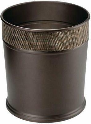 mDesign Decorative Round Small Trash Can Wastebasket, Garbag