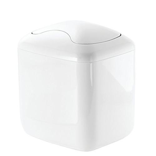 mDesign Modern Plastic Square Mini Wastebasket Trash Can Dis