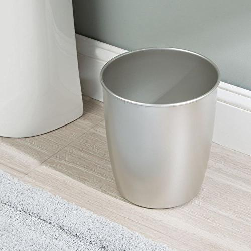 mDesign Metal Trash Wastebasket, Container Bin Powder Kitchens, Offices Durable Steel -
