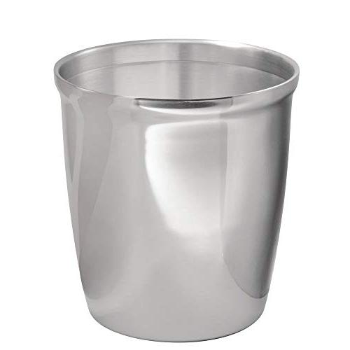 mDesign Small Round Metal Trash Can Wastebasket, Garbage Con
