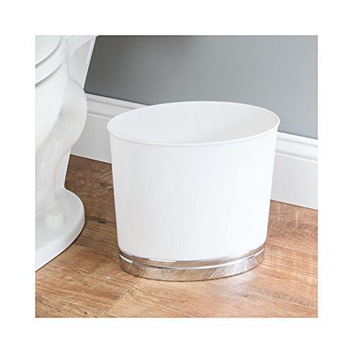 mDesign Modern Compact Plastic Toilet Brush and Combo Set Bathroom Storage Sturdy, Duty, Set of 2 White/Chrome