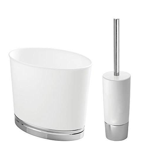 mDesign Compact Freestanding Plastic and Wastebasket Combo Bathroom Storage Heavy Duty, Deep Set White/Chrome