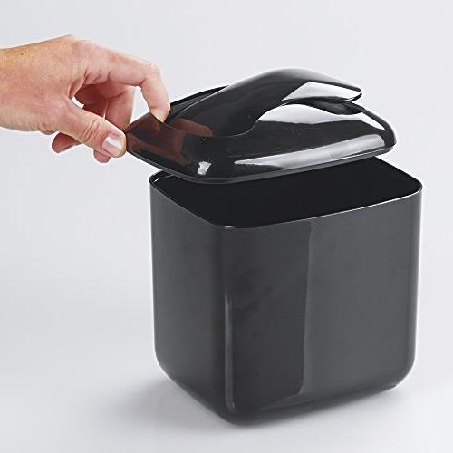 mDesign Modern Mini Trash Dispenser with Swing for Bathroom or Tabletop - of Cotton Sponges,