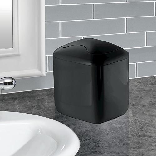 mDesign Modern Square Mini Dispenser Lid for Vanity or - Dispose of Cotton Rounds, Makeup Sponges, - Black