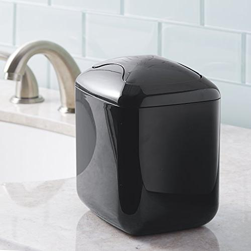 mDesign Mini Trash Dispenser with for Vanity or - of Cotton Rounds, Makeup Sponges,