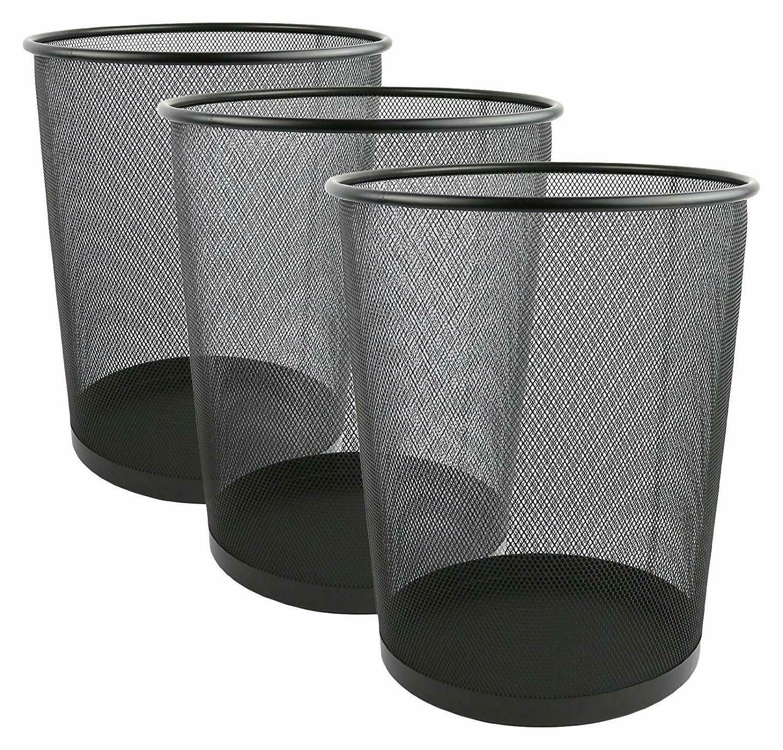 mesh wastebasket trash can 6 gallon black