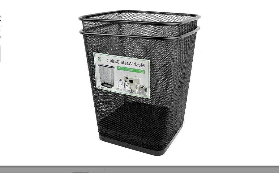 Mesh Wastebasket Can Home Square Office Black 2 Pack Solid