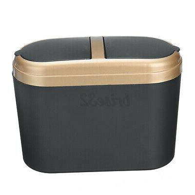 Mini Bin Desktop Basket Table Home Office Can With Lid