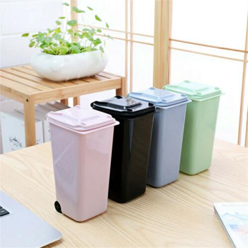Mini Trash Can Desk Wastebasket with Lid Desktop Garbage Bin