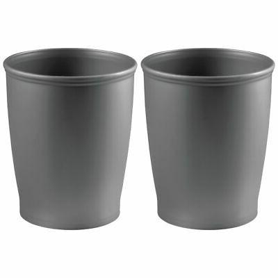 mDesign Modern Plastic Round Small Trash Can Wastebasket, 2