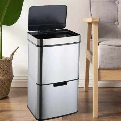 New 18-Gallon Touch Free Sensor Automatic Touchless Trash Ca