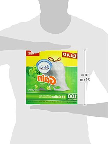 Glad Tall Kitchen Drawstring Trash - Gain Original with Febreze Freshness - 13 Gallon - 100