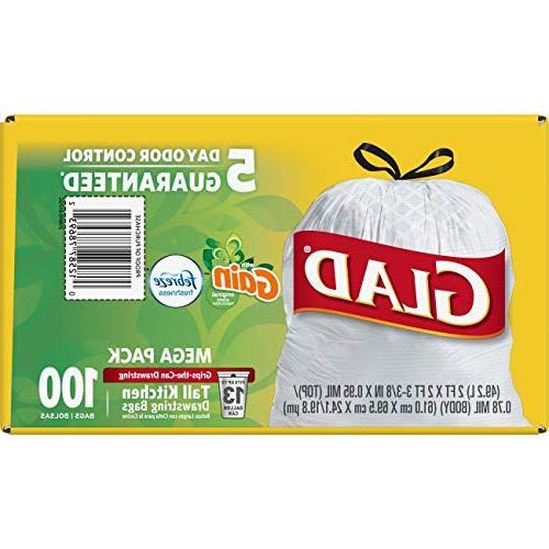 Glad OdorShield Kitchen Drawstring Bags Gain with Freshness 13 -