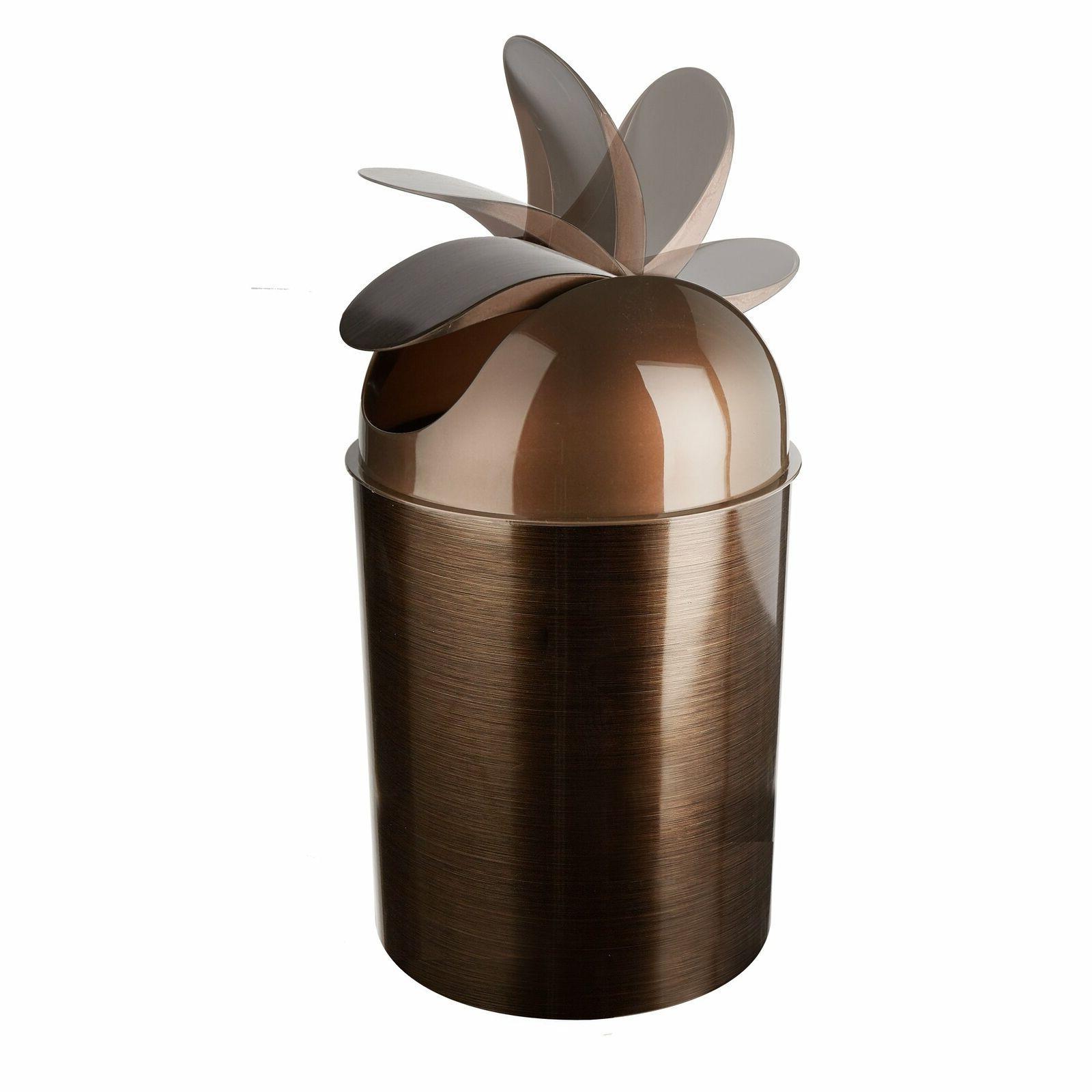 Oil Rubbed Bronze Can Garbage Waste Basket Lid Bathroom