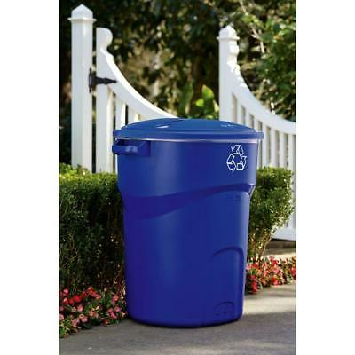 Blue Recycle Bin Recycling Trash Can 32 gal Outdoor Garbage