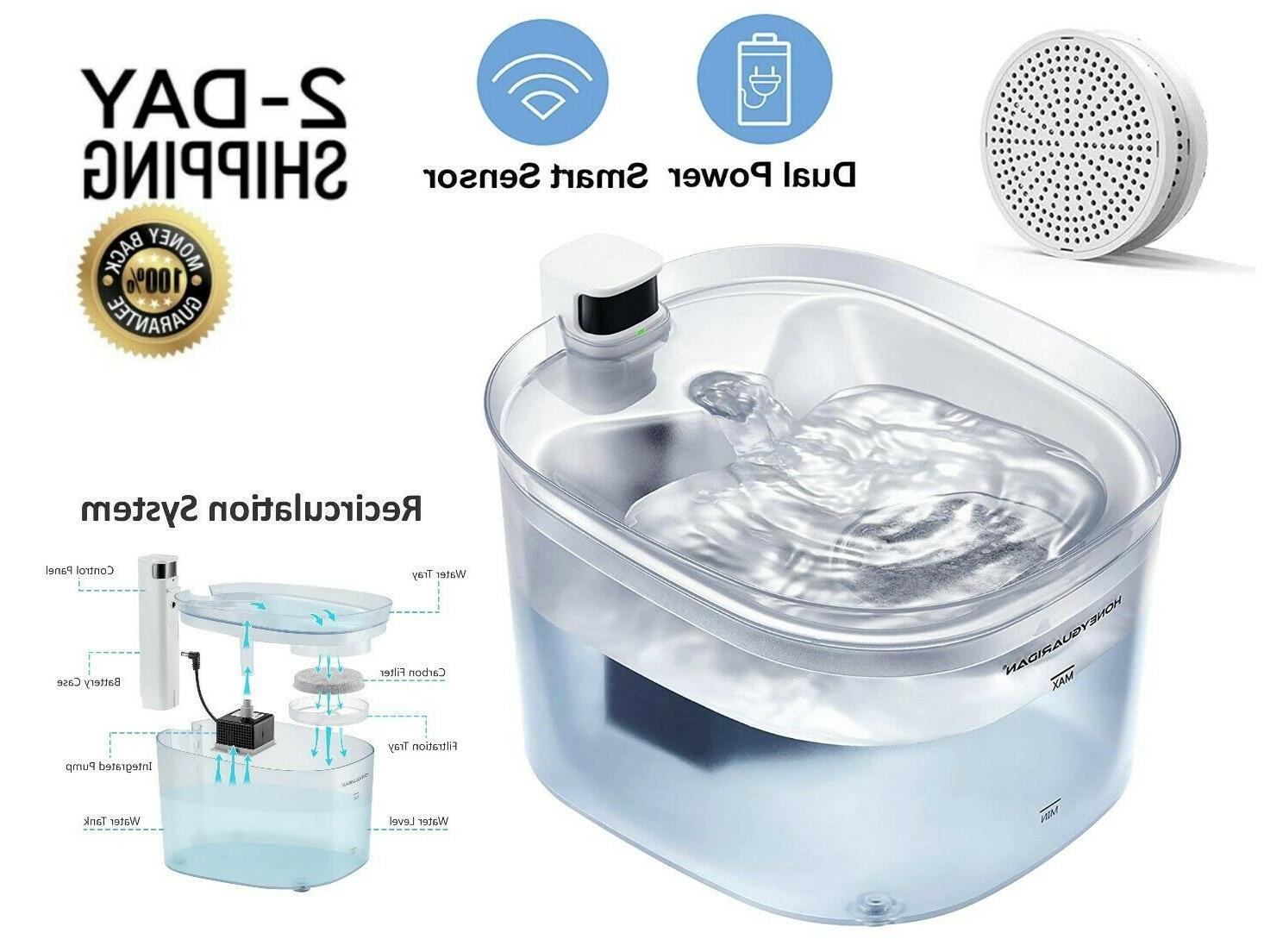 HoneyGuaridan Pet Fountain Battery Operated Dual Power Desig