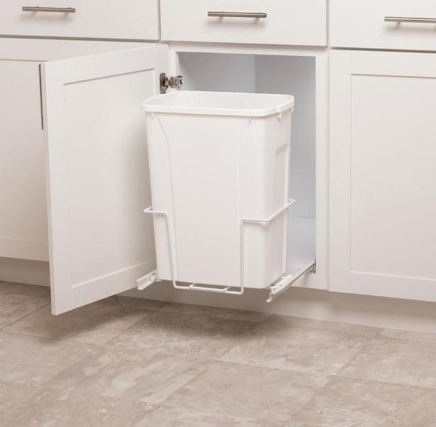 Plastic Pull Out Trash Can White Garbage Bin Basket Waste Un