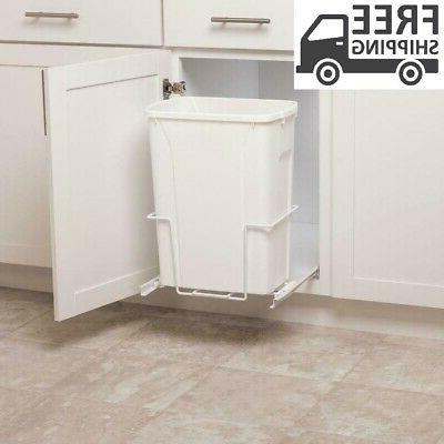 plastic pull out trash can white 35