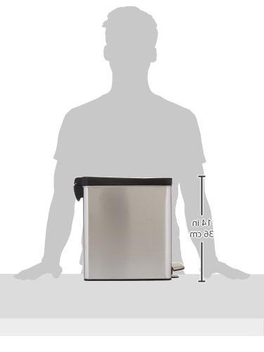 simplehuman Profile Can, 2.6 Gallons, Steel, ea