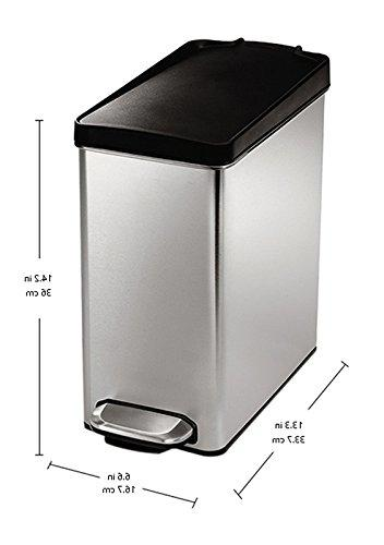 simplehuman Profile Step Trash Can, 10 2.6 Brushed Steel, ea