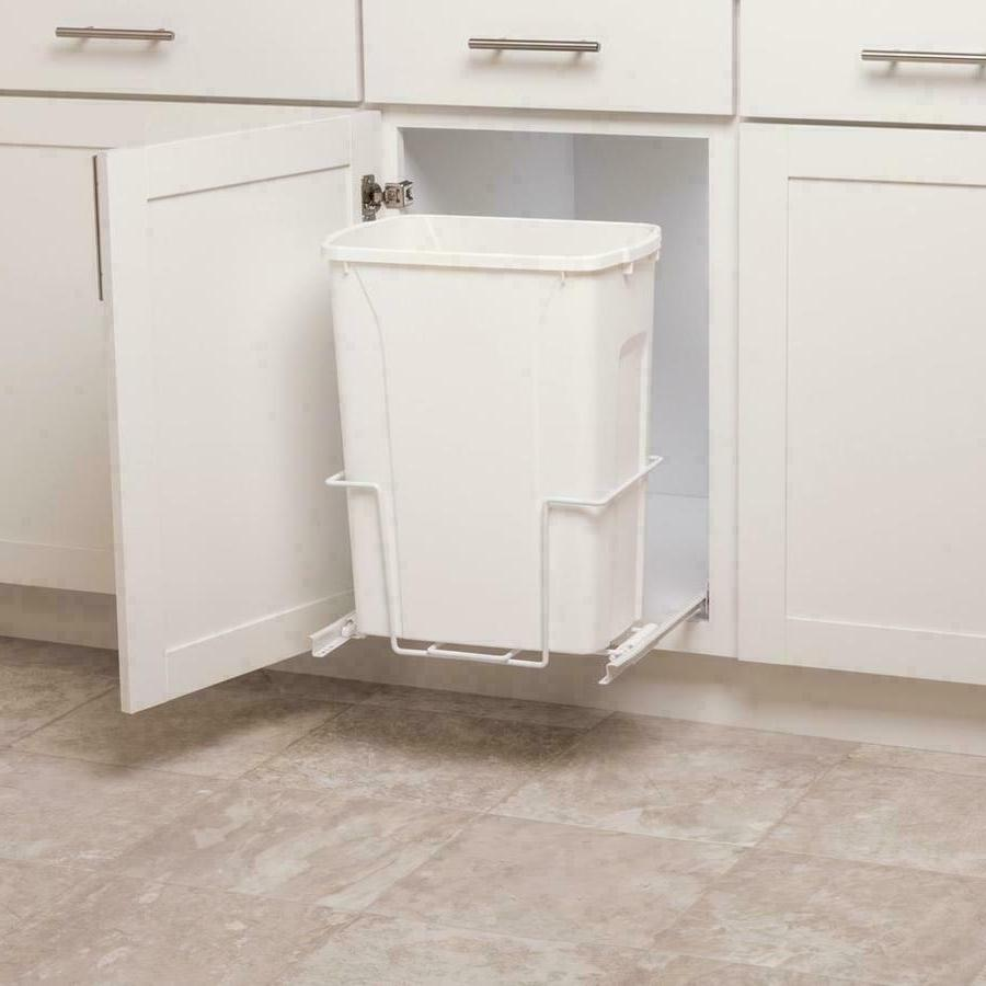 Plastic Pull Out Trash Can White 35-Quart Bin Kitchen Pantry