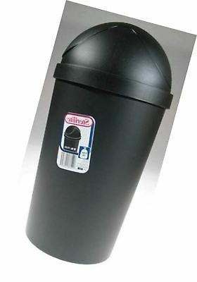 Sterilite 10839006 12 Quart Black Round Swing-Top Wastebaske