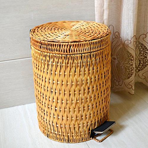 Wrash can,Rattan Trash home & kitchen with lid Round can-0.8usgal-A