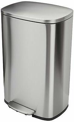 AmazonBasics Rectangle Soft-Close Trash Can - 50 Liter, Sati