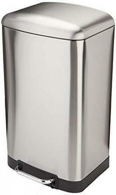 Rectangle Soft-Close Trash Can with Steel Bar Pedal - 40L, N