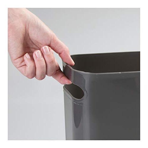 Slate Gray Kids Room mDesign Slim Plastic Rectangular Large Trash Can Wastebasket Shatter-Resistant Garbage Container with Handles for Bathroom Dorm 12 High MetroDecor 9419MDBST 2 Pack 12 High Home Office Kids Room Kitchen