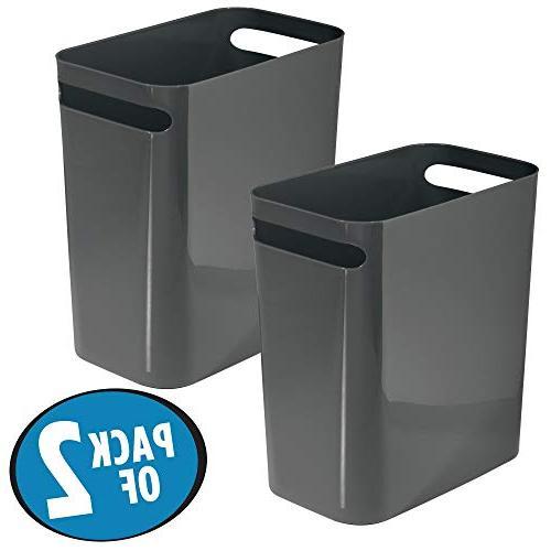 Mdesign Slim Plastic Rectangular Large Trash Can Wastebasket