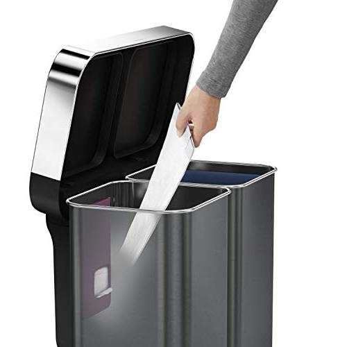 simplehuman L/15 Gallon Recycler Liner Pocket, 58 Liter Stainless Steel
