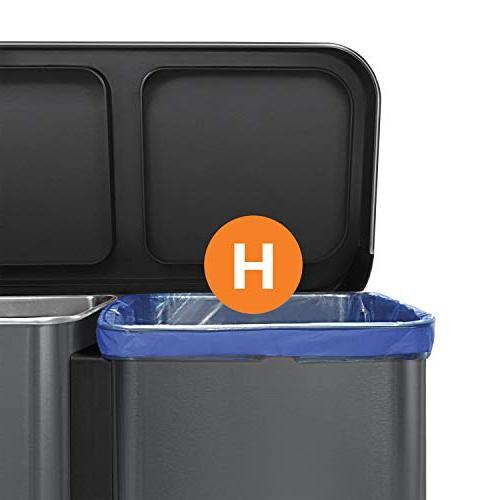 simplehuman 58 Dual Recycler with 58 Liter Rectangular,