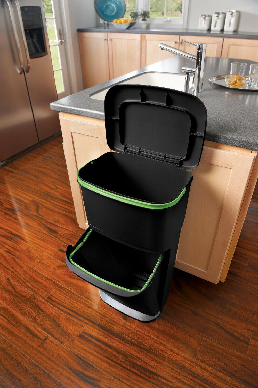 Recycling Modular LinerLock Trash Can Double Decker Bins Was