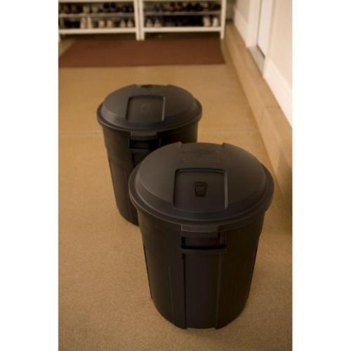 Roughneck Black Round Trash Can Waste Bin Heavy Duty 20gal
