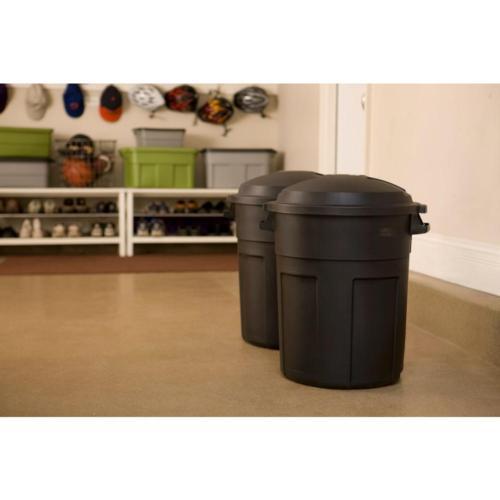 Roughneck Black Round Trash Can Bin Heavy 20gal