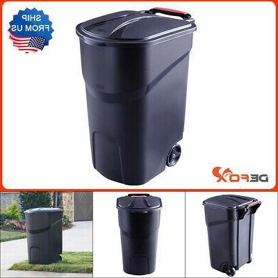 roughneck black wheeled trash can