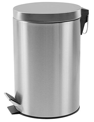 round brushed stainless steel trash