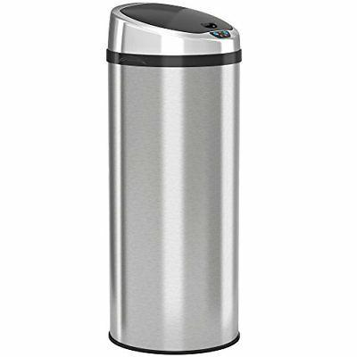 round stainless steel touchless trash
